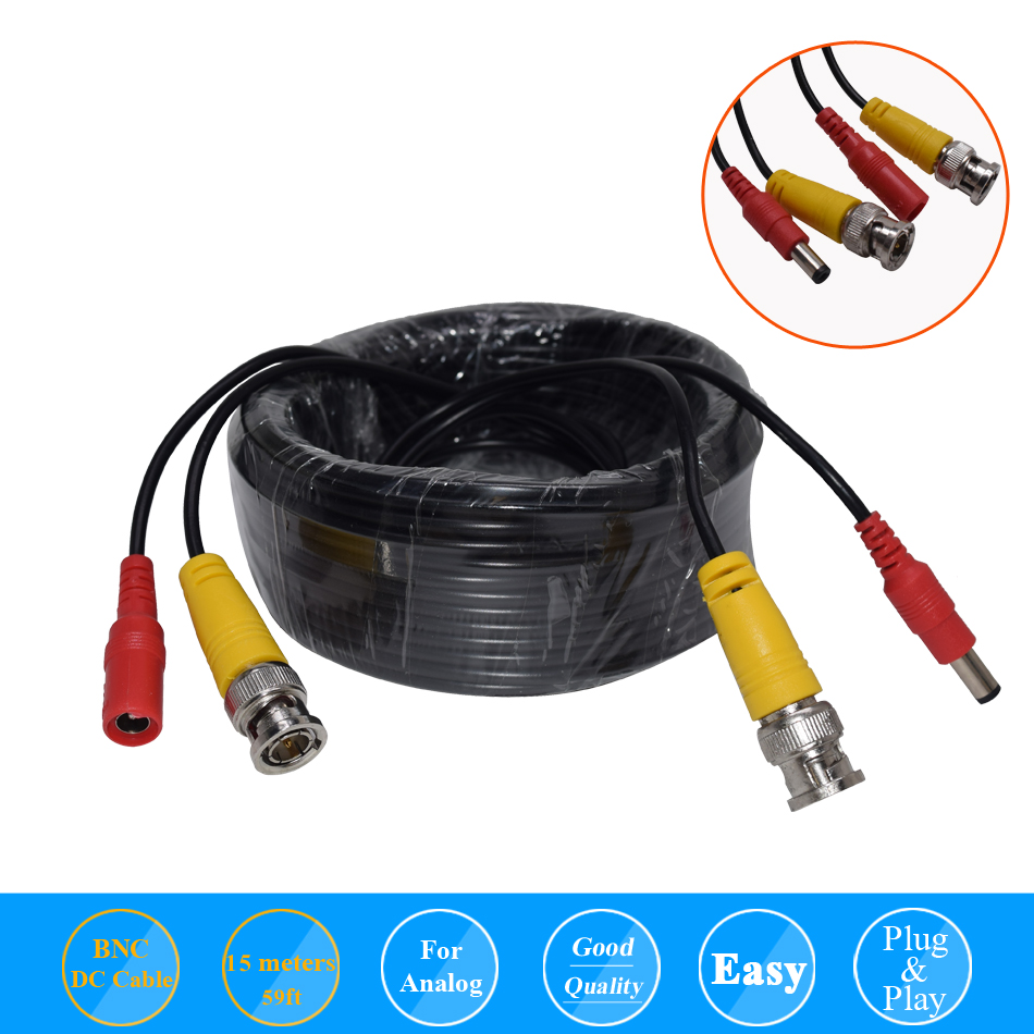 BNC CCTV DVR Camera Video Power Cable 59ft 15m For Analog AHD CVI CCTV Surveillance Camera DVR Kit
