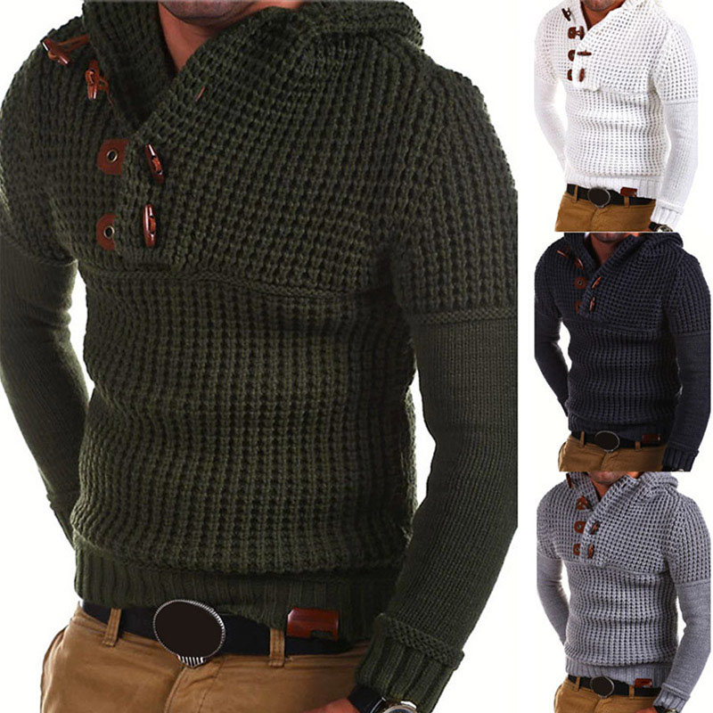 Hot Plus Size Winter Mens Knitted Casual Sweater Hooded Pullover Top Knitwear Blouse Keep Warming CGU 88