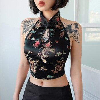 Moda Bordado de dragón estilo chino pequeño chaleco mujeres Europa y ee.uu. explosión modelos Sexy espalda descubierta sin mangas Halter