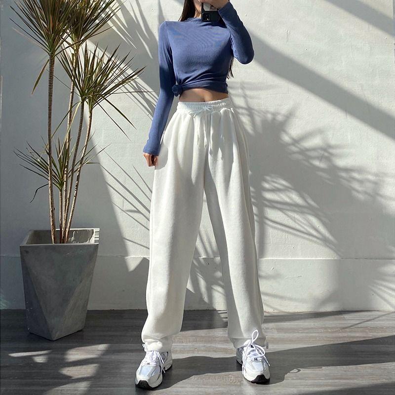 HOUZHOU женские спортивные брюки корейская мода оверсайз серые спортивные штаны для бега мешковатые 2021 Высокая талия джоггеры белые брюки жен...