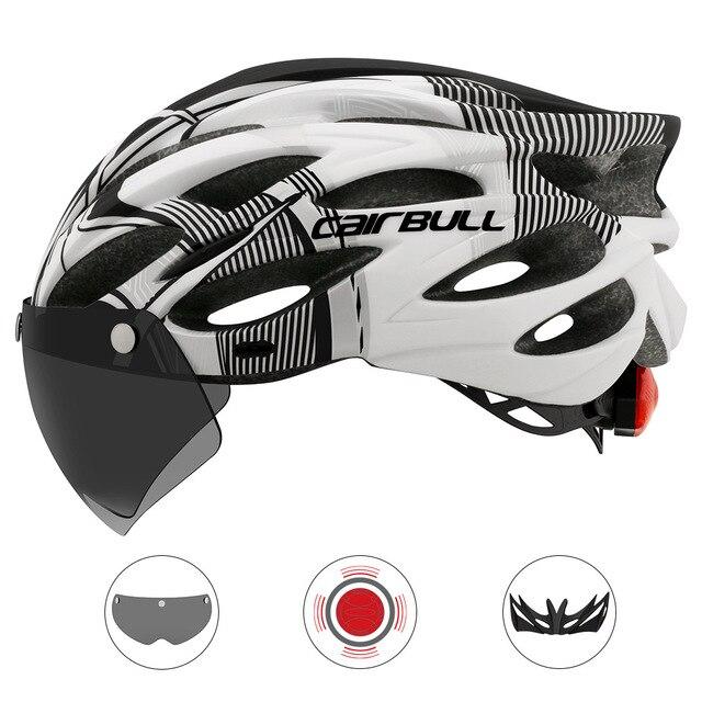 Intergrally-moldado mountain bike capacete com óculos removíveis viseira ajustável das mulheres dos homens bicicleta ciclismo taillight capacete 3