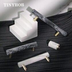 Натуральный Мрамор + латунь T бар кабинет ручки и Кухня шкаф дверь тянет Мебельная ручка комода ручки оборудования