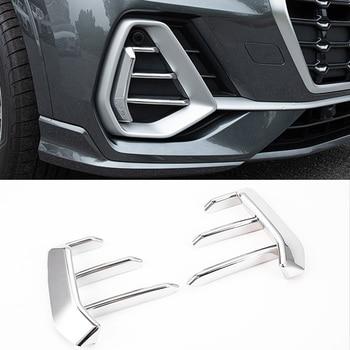 цена на 2PCS ABS Chrome Car Front Headlight Fog Lamp Cover Trim For Audi Q3 F3 2019  2020 Car Styling Accessories