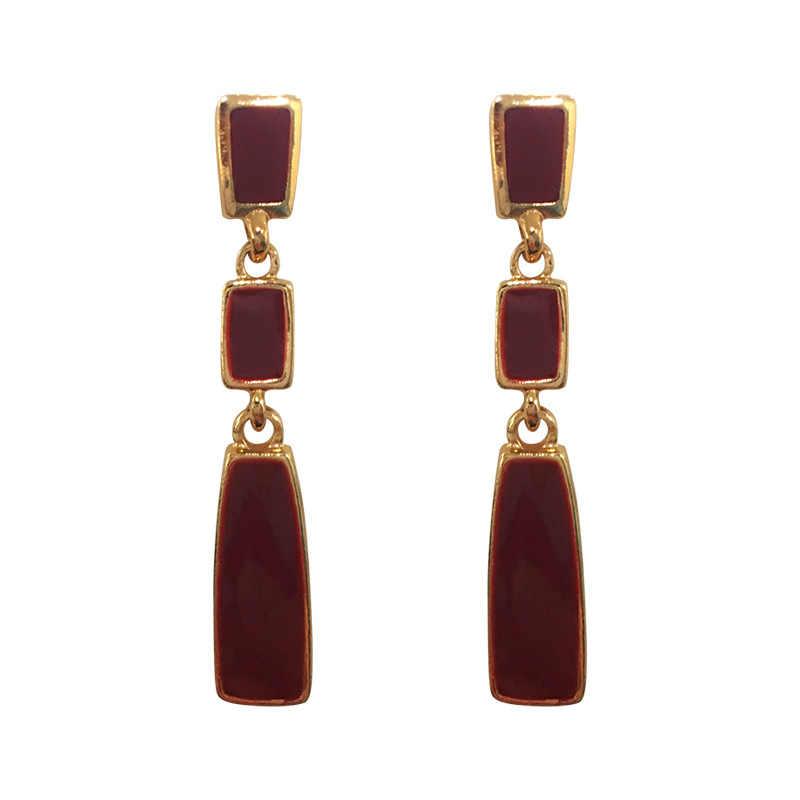Moda 2020, Pendientes de gota geométricos largo dorado y Rojo para mujer, cuadrado, mujer, declaración de boda Vintage, joyería, pendientes Coreanos