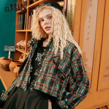 ELFSACK Multicolor Tweed Chic Button Casual Women Jacket,2020 Autumn ELF Vintage Full Sleeve,Korean Ladies Daily Warm Outwear