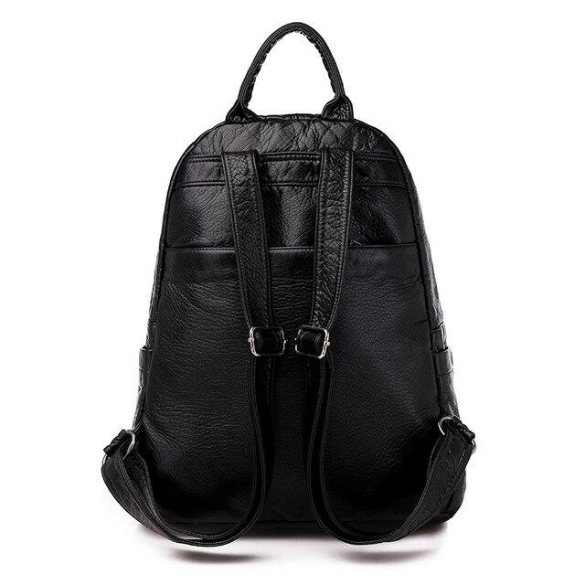 السيدات على ظهره 2020 جديد سعة كبيرة لينة بولي Leather جلد الشباب طالب حقيبة مدرسية موضة حقيبة السفر الأسود الرئيسي 5