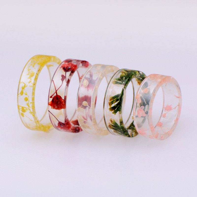 8 Colors DIY Handmade Dried Flowers Epoxy Ring Transparent Resin Ring Party Jewelry Cute Resin Rings For Women Romantic Gifts