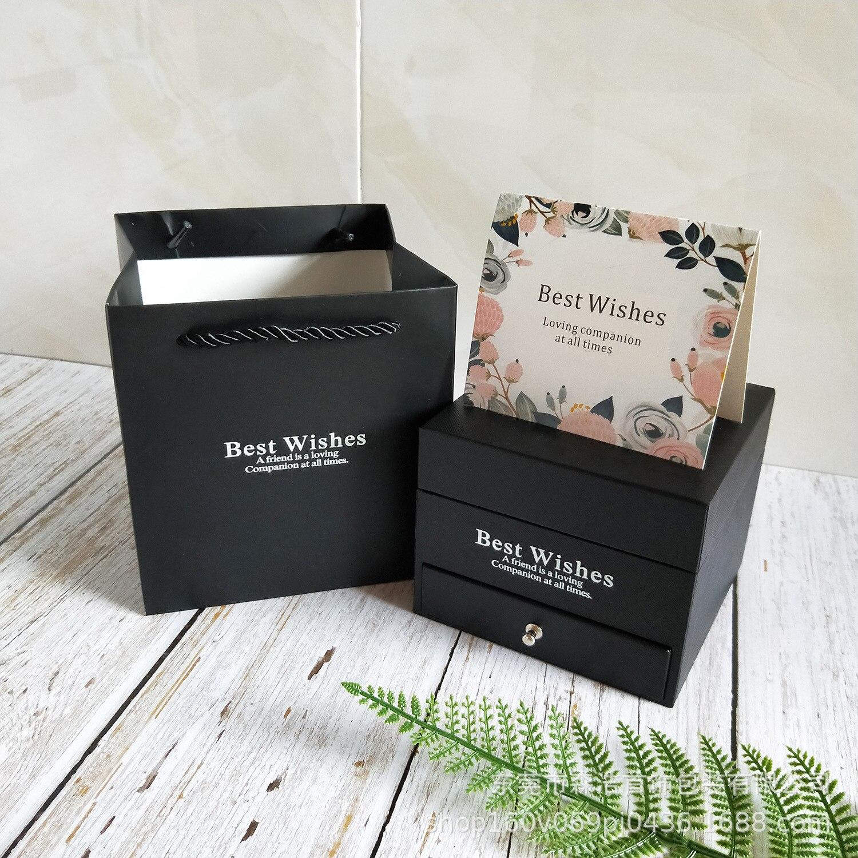 День Святого Валентина мыло розовая Подарочная коробка шкатулка для драгоценностей кольцо футляр для колье Косметическая Помада подарочная коробка - Цвет: black gift box