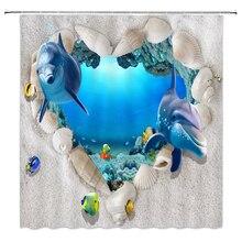 2020 New Shower Curtains Ocean Dolphin Sea world Animal Waterproof Shower Curtain Cute Fishes Bathroom Bath Shower Curtain