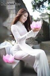 2020 weiß aodai vietnam traditionellen kleidung frauen ao dai roben und hosen chinesischen kleid qipao für weibliche verbesserte cheongsam set