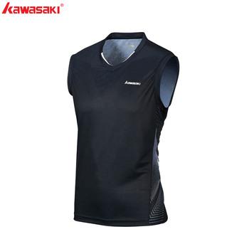 2020 Kawasaki Badminton koszula mężczyźni odzież sportowa koszula V-Neck bez rękawów oddychające tenis koszulki dla mężczyzn ST-R1207 ST-R1219 tanie i dobre opinie Poliester Pasuje prawda na wymiar weź swój normalny rozmiar White Black Gray ST-R1207 ST-R1219 ST-T1014 100 Polyester