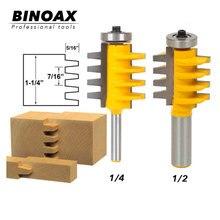 цена на Binoax 1/2, 1/4 Shank Rail Reversible Finger Joint Glue Router Bit Cone Tenon Woodwork Cutter Power Tools