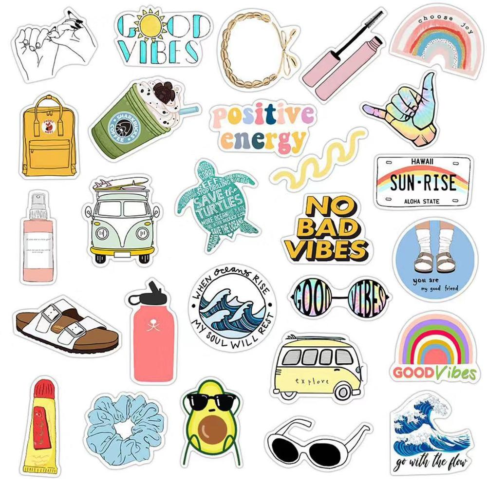 35pcs Cute Cartoon Vsco Girl Sticker Simple Girl Decal DIY For Laptop Luggage Guaitar Skateboard Toy Waterproof Stickers