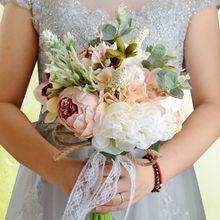 Vintage rústico estilo hecho a mano ramo de boda Artificial peonía Rosa romántica novia dama de honor que sostiene la decoración de la iglesia del Partido de la flor