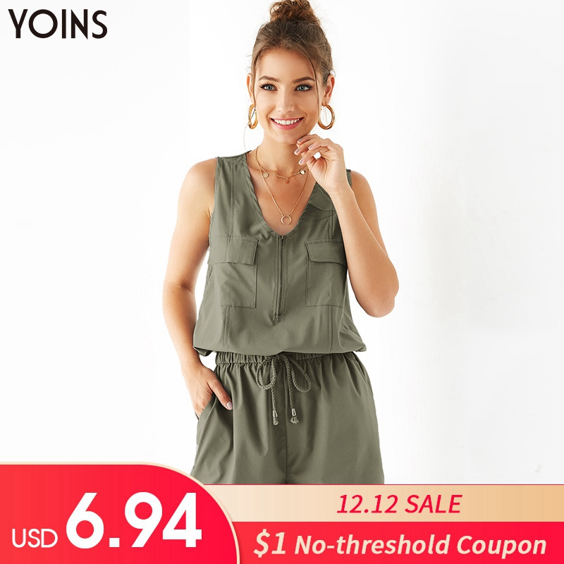 YOINS Women V-neck Sleeveless Lace Up Zip Front Side Pockets Playsuit 2019 Summer Casual Jumpsuit Rompers Overall Trousers Femme