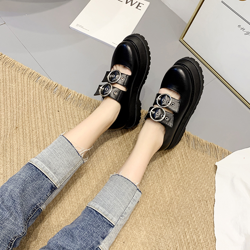 Black Leather Japanese Student Shoes Women College LOLITA Shoes Platform Wedge Cosplay Uniform Fashion spring shoes Buckle YMB36