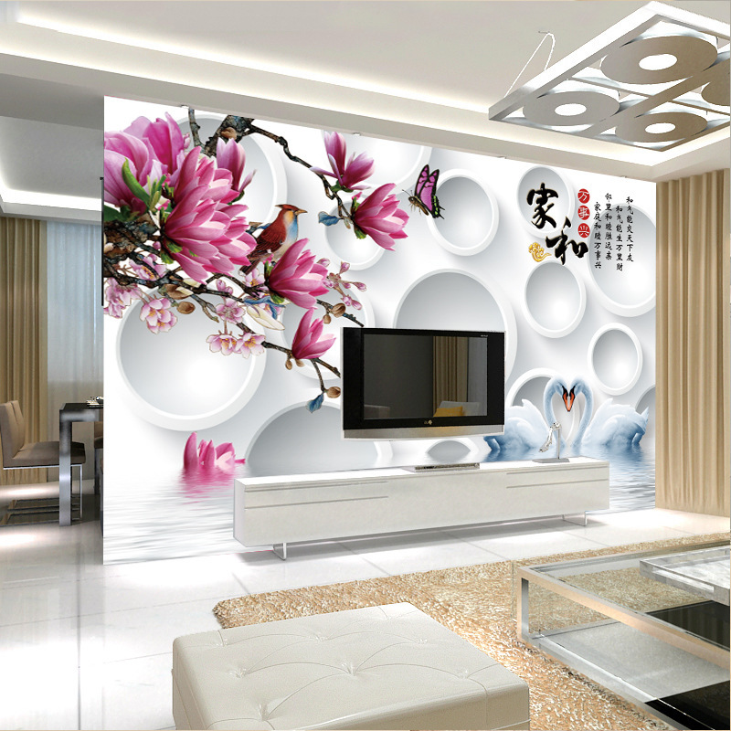 Seamless Large Mural TV Backdrop Wallpaper Living Room Chinese Style Non-woven Wallpaper 3D Wall Cloth