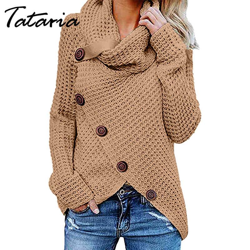 Tataria Womens Button 터틀넥 니트 스웨터 여성 비대칭 헴 랩 풀오버 스웨터 탑 여성 스웨터 점퍼 탑스