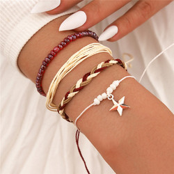 4Pcs/Set Bohemian Exquisite Simple Star Hand Made Bracelet Women Elegant Temperament Classic Daily Jewelry Accessories Gift