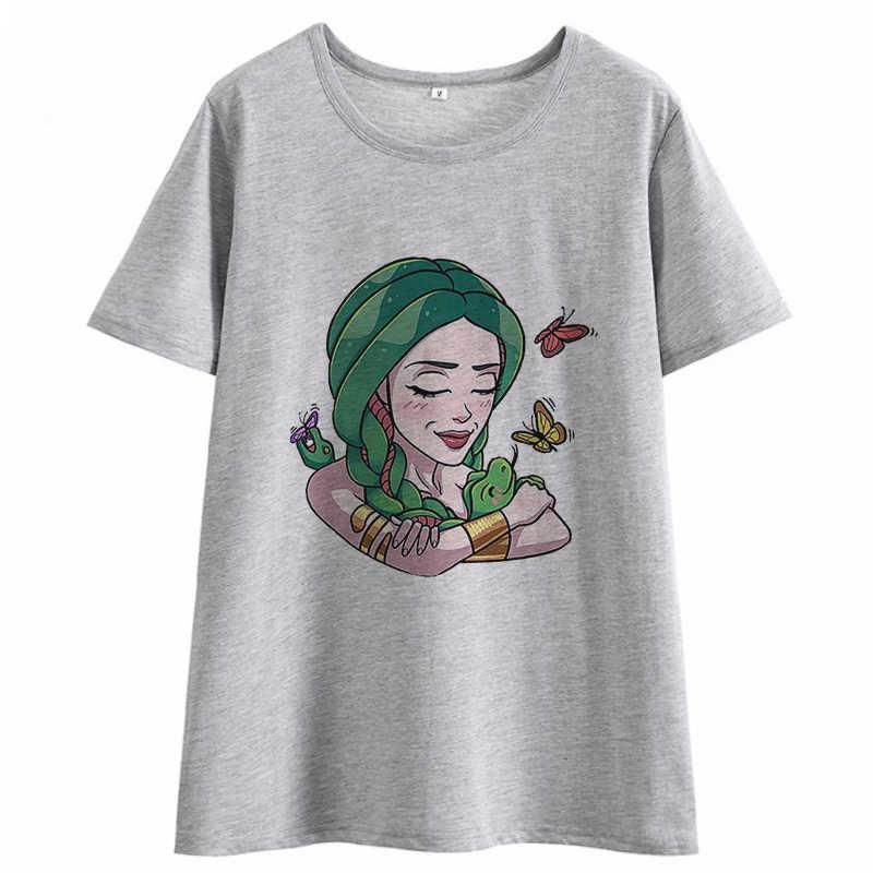 Verão 2020 nova estética casual tshirt medusa harajuku kawaii roupas de grandes dimensões do sexo feminino camiseta gótico t camisa solta