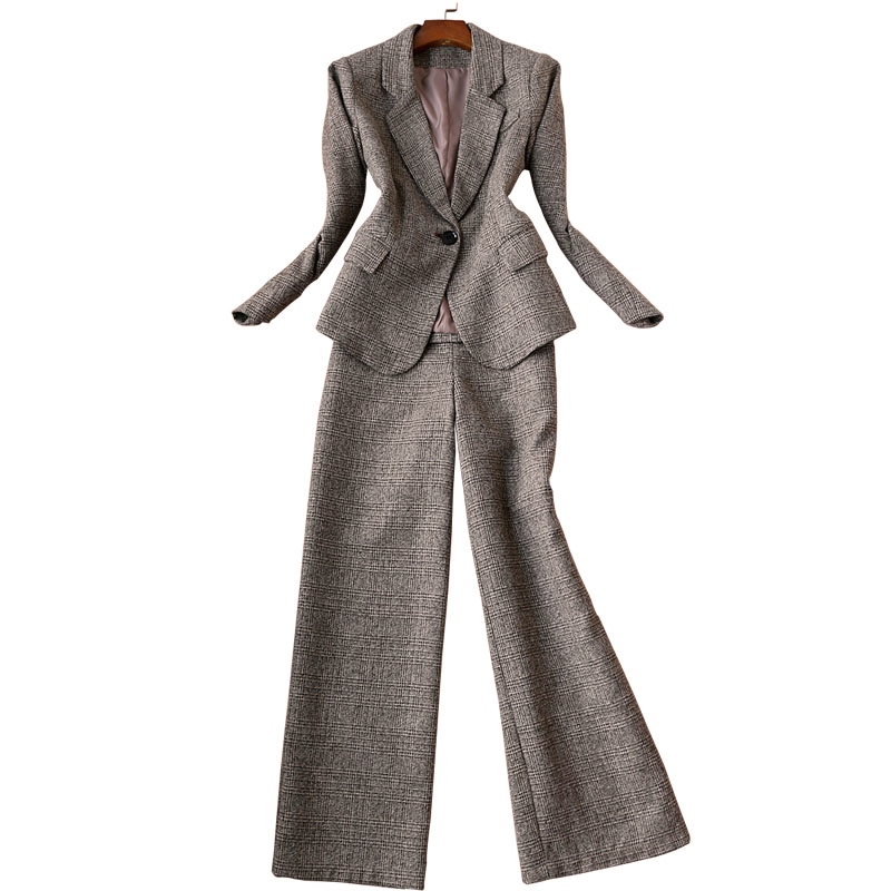 Autumn And Winter New Korean Version Of The Ladies Long-sleeved Woolen Plaid Suit Trousers Wide-leg Pants Suit Two-piece 2019