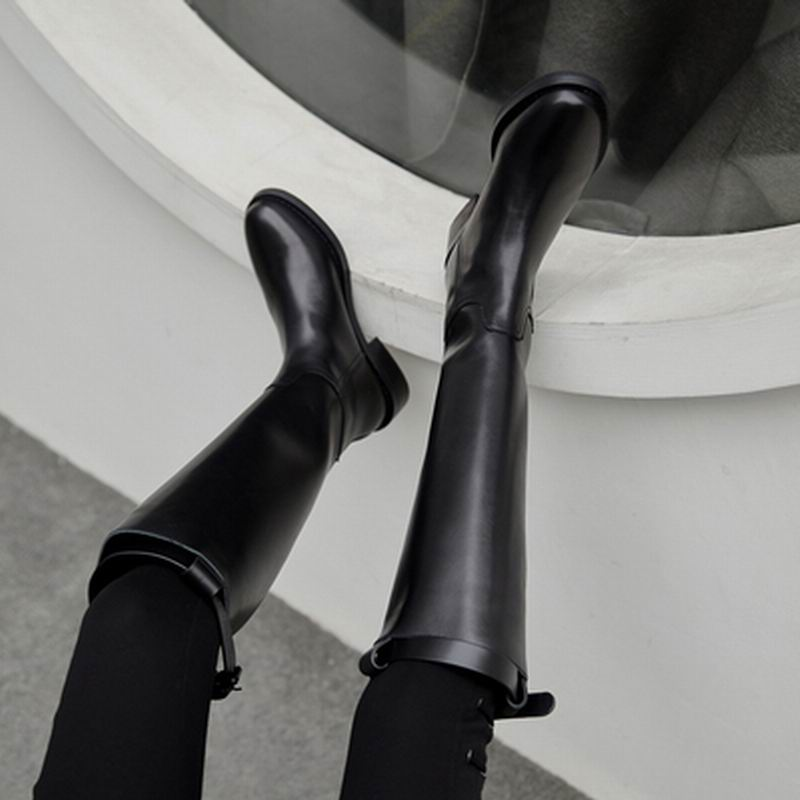 Knight boots female high tube long tube fashion 2019 autumn and winter new leather boots riding boots warm wild increased - 2