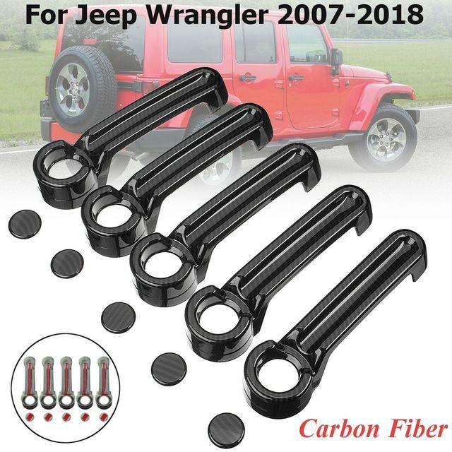 คุณภาพสูง100% คาร์บอนไฟเบอร์Auto 4ประตู + TailgateฝาครอบTrimสำหรับJeep Wrangler JK 2007 2018รถจัดแต่งทรงผม