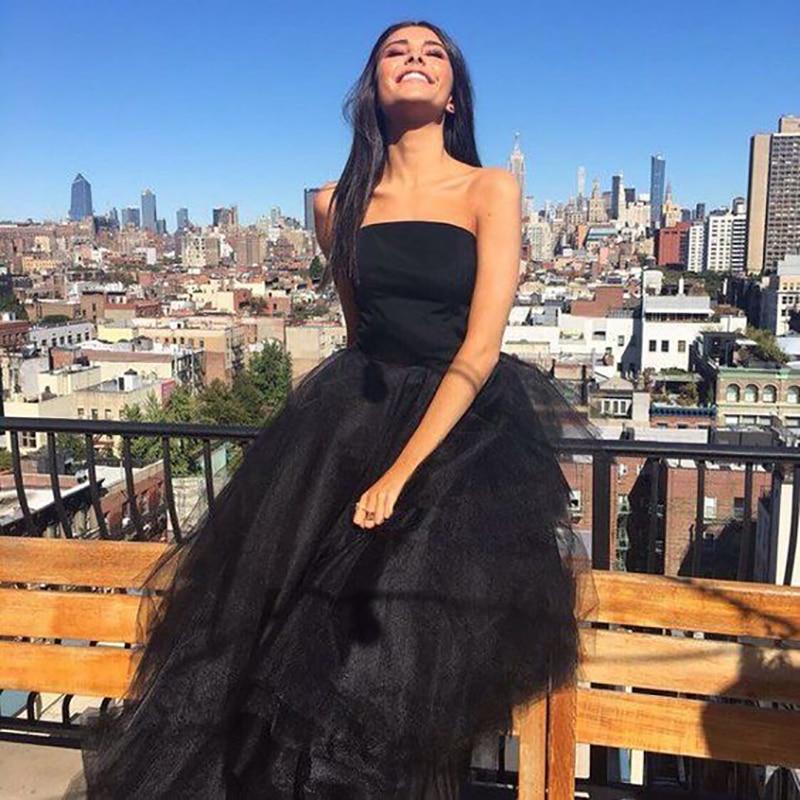 Verngo Ball Gown Evening Dress Black Elegant Formal Dress High Low  Prom Party Gowns Abiye Gece Elbisesi