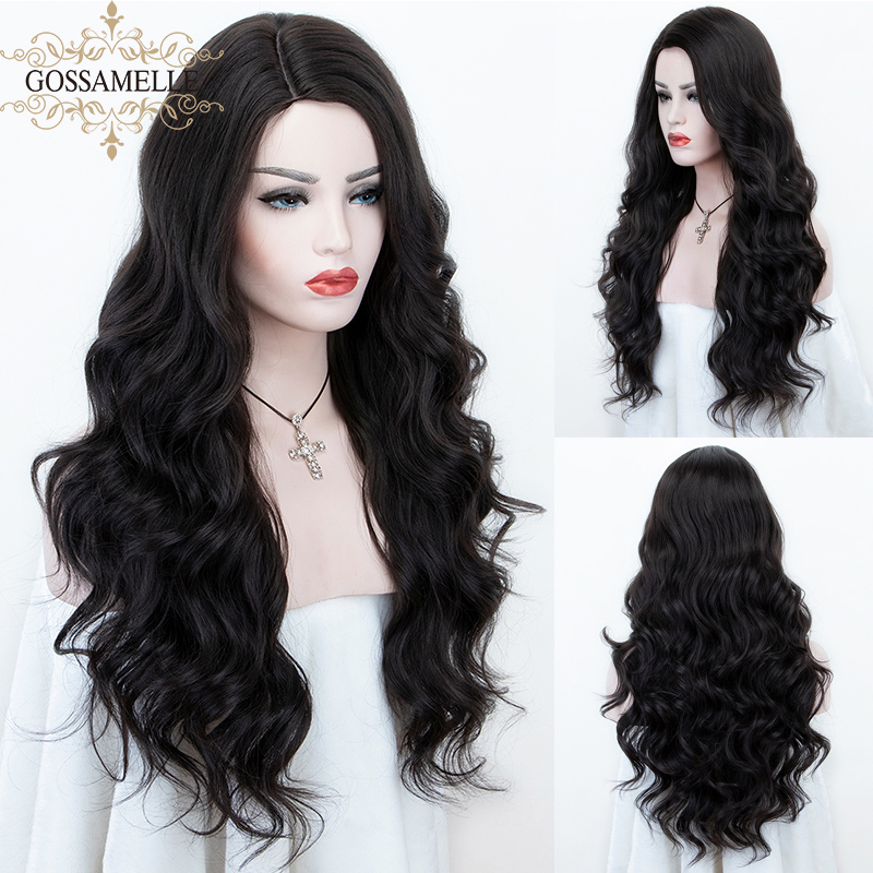 Gossamelle Long Wavy Synthetic Wigs For Women Black Brown Cosplay Wigs High Temperature Fiber African American