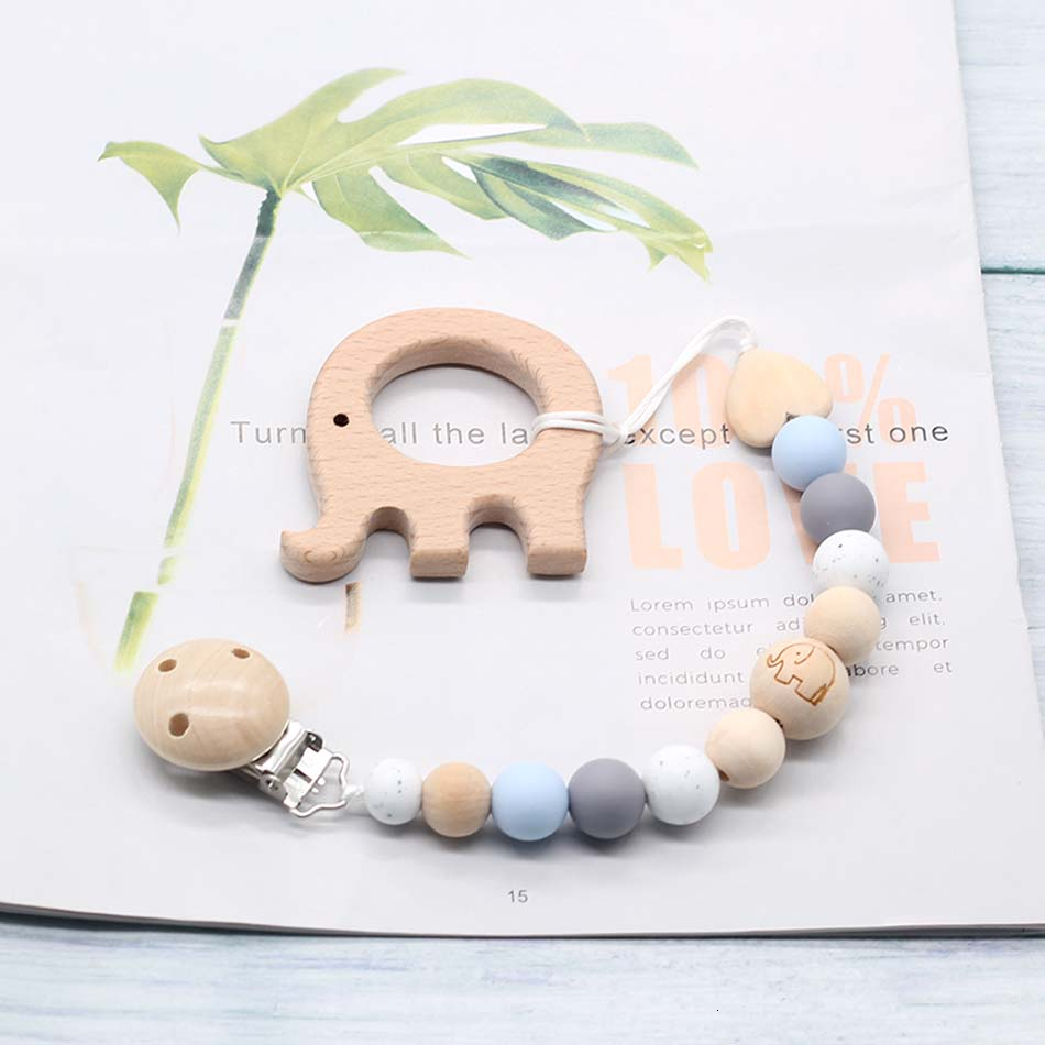 DIY Silicone Pacifier Clip Chain Baby Teething Soother Chew Toy Dummy Clips Beech Beads Cartoon Wooden Pendant Newborn Gift