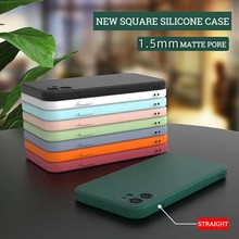 New Square Silikon Case untuk iPhone 11 Pro Max SE 2020 Case Lembut TPU Kembali Matte Phone Case untuk iPhone 6 7 8 Plus 6S XS XR X Etui(China)