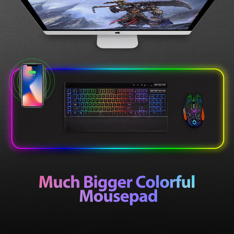 Gaming Mouse Pad RGB Large Mouse Pad Gamer Big Mouse Mat Computer Mousepad Led Backlight Mause Pad With wireless charger title=