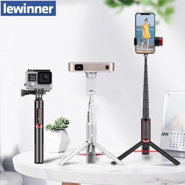 Lewinner LW 202pro esporte tudo em um portátil bluetooth tripé selfie vara monopé para gopro 7 6 5 esportes ação 1/4 parafuso vista