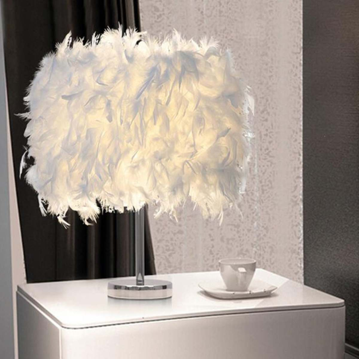 220V Feather Shade Metal Table Lamp Bedside Desk Vintage Night Light Christmas Decor Soft Vintage Bedroom Study Room White