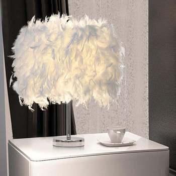 цена 220V Feather Shade Metal Table Lamp Bedside Desk Vintage Night Light Christmas Decor Soft Vintage Bedroom Study Room White онлайн в 2017 году