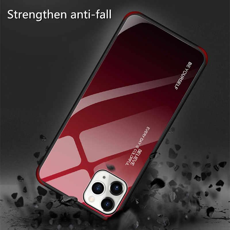 Gradiënt Gehard Glas Geschilderd Case Voor iPhone 11 pro X XS Max XR Case Cover Voor iPhone 6 6s 7 8 Plus 11 Beschermende Cover Case