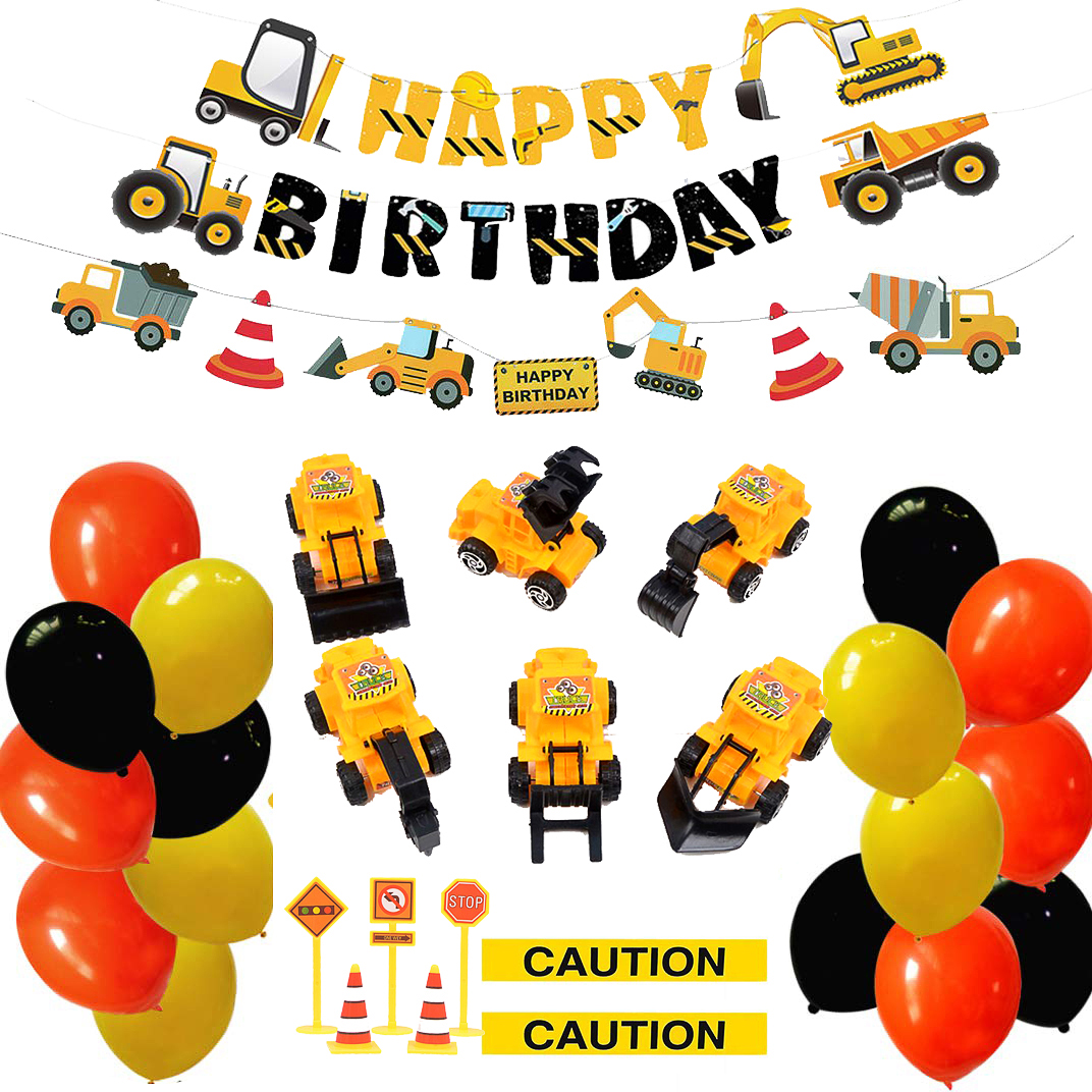 Construction Birthday Party Supplies Balloon Banner Cake Decorations Tractor Blender Dump Trucks Party Decorations For Kids Boys