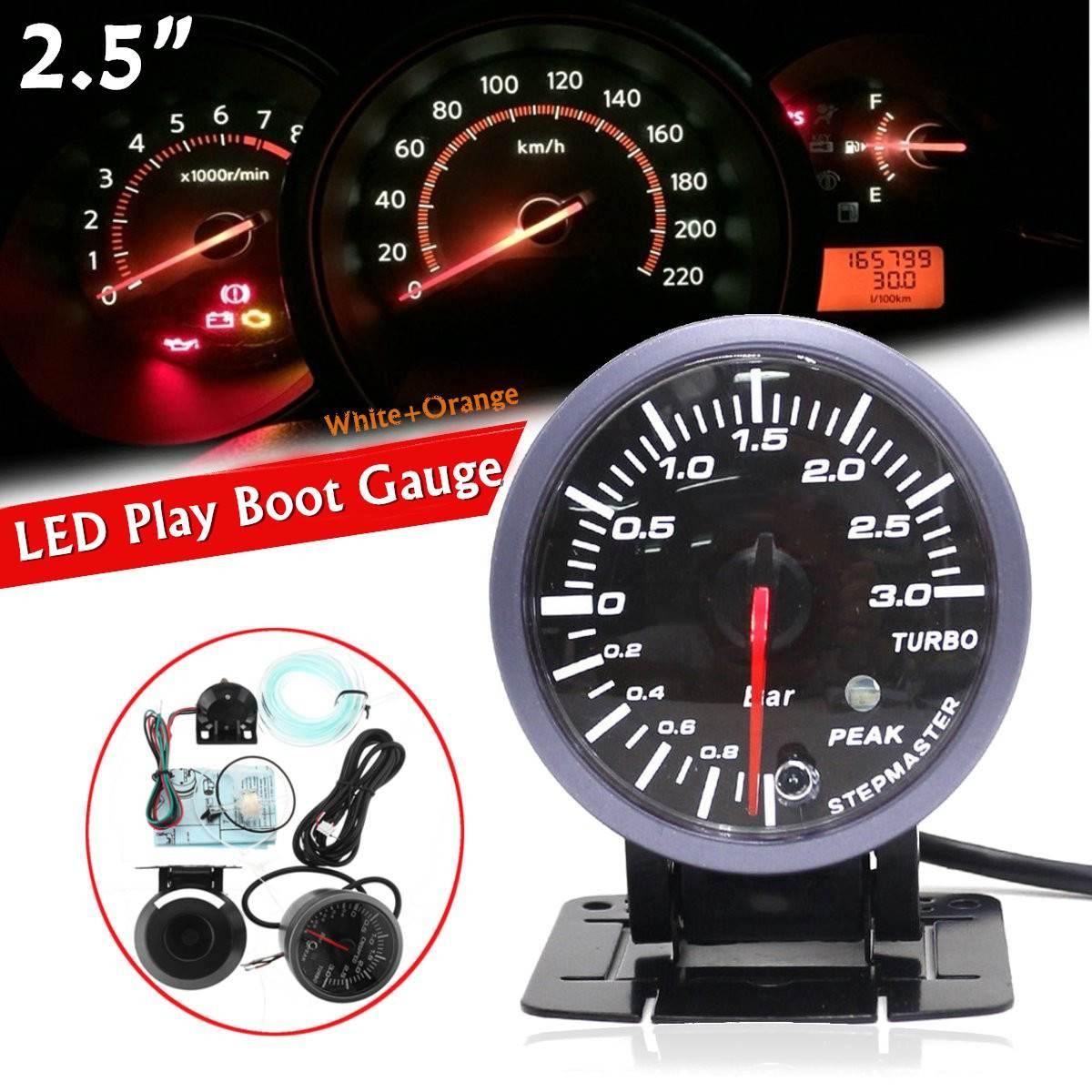Автомобильный измеритель давления Turbo Boost, универсальный Манометр с пиковой сигнализацией, 0-3 бар, 12 В постоянного тока, 2,5 дюйма, светодиодны...