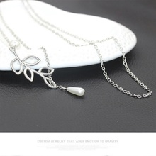New style fashion personality leaf pearl drop necklace women clavicle chain girl jewelry manufacturers wholesale gift