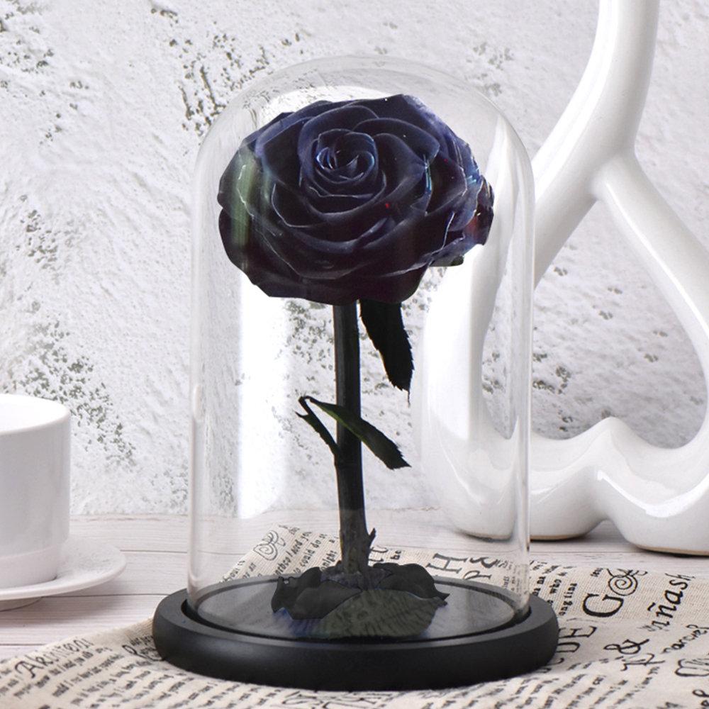 6 стилей,, свежие цветы красавицы и чудовища, красные вечные розы в стеклянном куполе, Рождественский подарок на день Святого Валентина, Прямая поставка - Цвет: black rose
