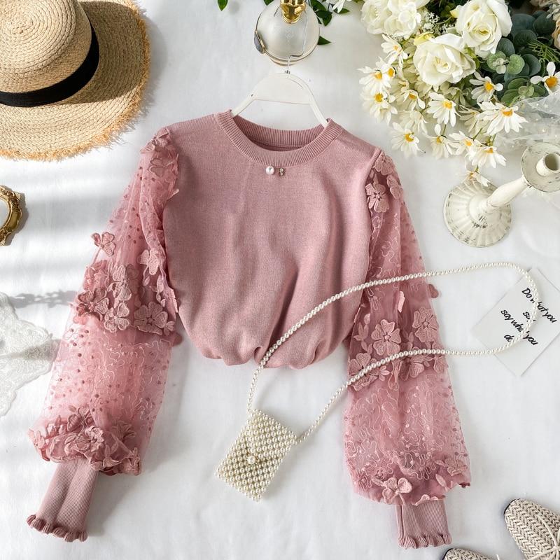 Autumn Winter Women Sweet Sweater 2020 Korea Casual Cute Pink O-Neck Puff Sleeve Pullovers Sweater