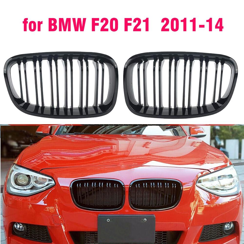 Передняя решетка радиатора для BMW F20 F21 1 серии 2011 2012 2013 2014, сменная радиаторная решетка для гоночного автомобиля, глянцевая, Черная