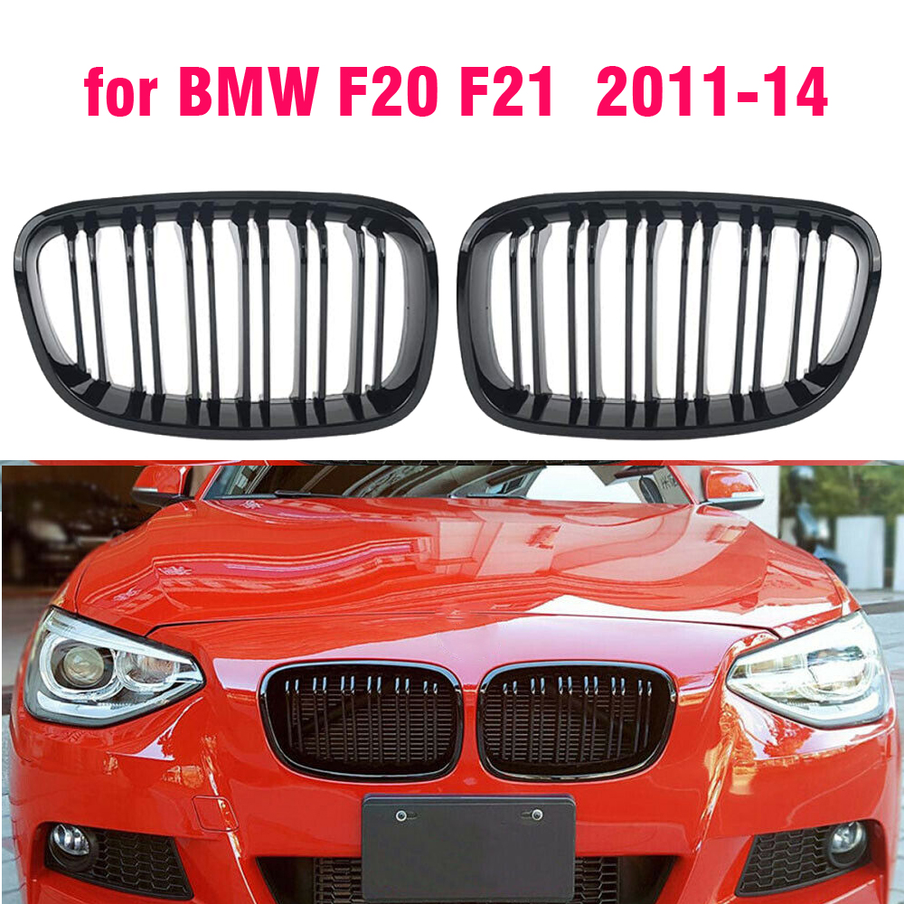 Front Kidney Grille For BMW F20 F21 1 Series 2015 2016 2017 Car Replacement Racing Grille Gloss Black image
