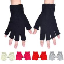 1 Pair Unisex Winter Sports Warm Stretch Breathable Knitted Soft Half Finger Golves Elastic Knitted Half Finger Riding Gloves
