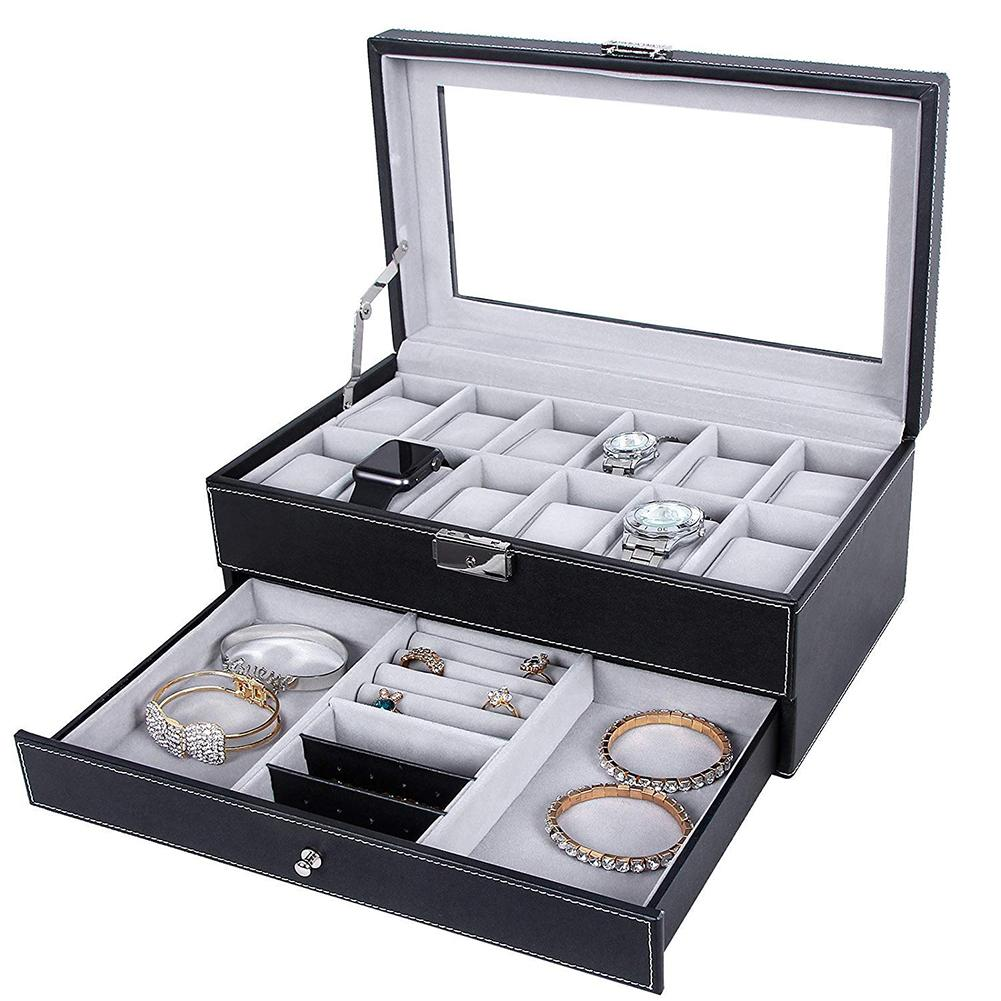 Fashion Watch Box Double Layer 12 Detachable Slot Watch Organizer Storage Box Collection Faux Leather Watch Box With GlassTop