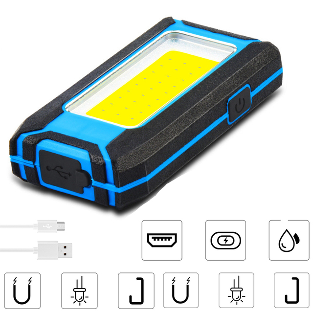 800LM Powerful COB LED Flashlight Torch 3000mAh USB Rechargeable Work Light Inspection Lamp Camping Tent Lantern Wall Lamp 3Mode