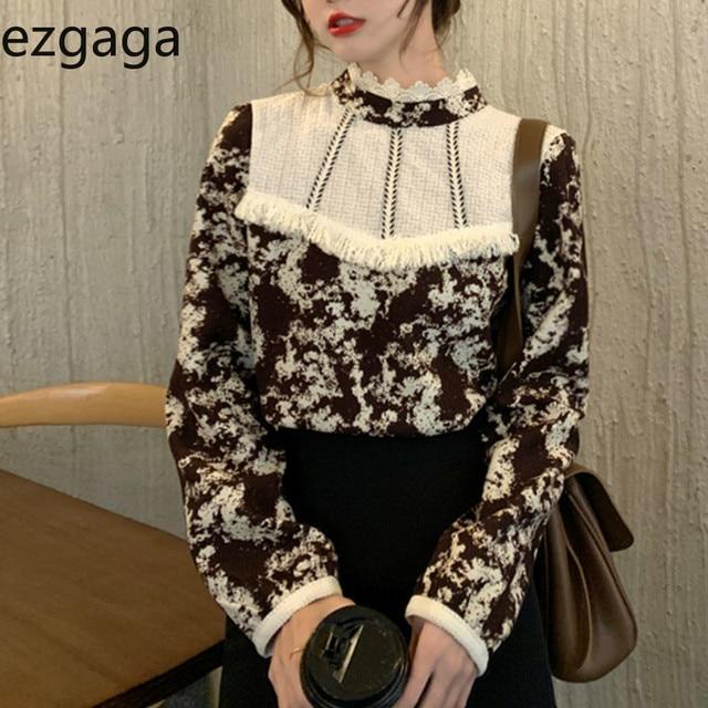 Ezgaga Floral Printed Women Shirts French Style Lace Patchwork Tassel Vintage Tender Long Sleeve Elegant Blouse Ladies Blusas 1