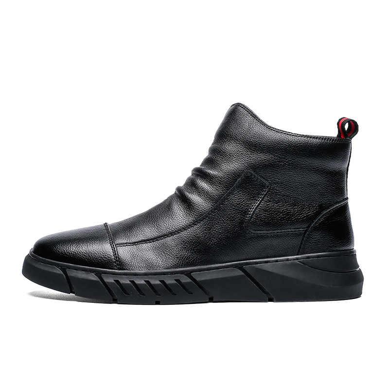 Brand New Autunno Inverno in Pelle Morbida Casual Scarpe da Neve Peluche Caldi Stivali Della Caviglia di Modo Stivali di Lavoro Stivali di Alta Aiutare Gli Uomini scarpe