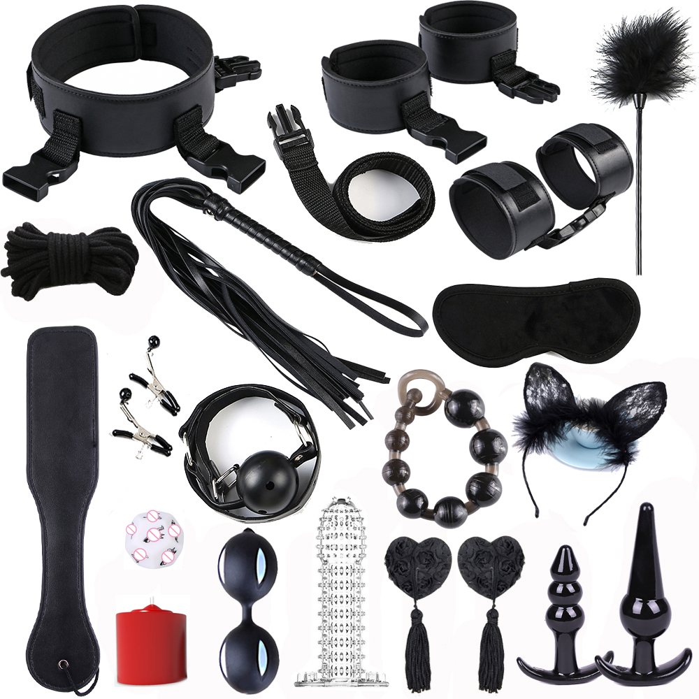 Exotic Accessories Sex Bondage Set BDSM Games Restraint Slave Whip Rope Collar Anal Beads Smart Ball Adult Sex Toy For Couples
