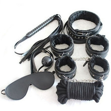 7 Pieces/Set  Porno Sex Handcuffs Mask Bed Bondage Gear Restraint Set Kit Ball Gag Cuff Whip Sexy Products Toy For Women